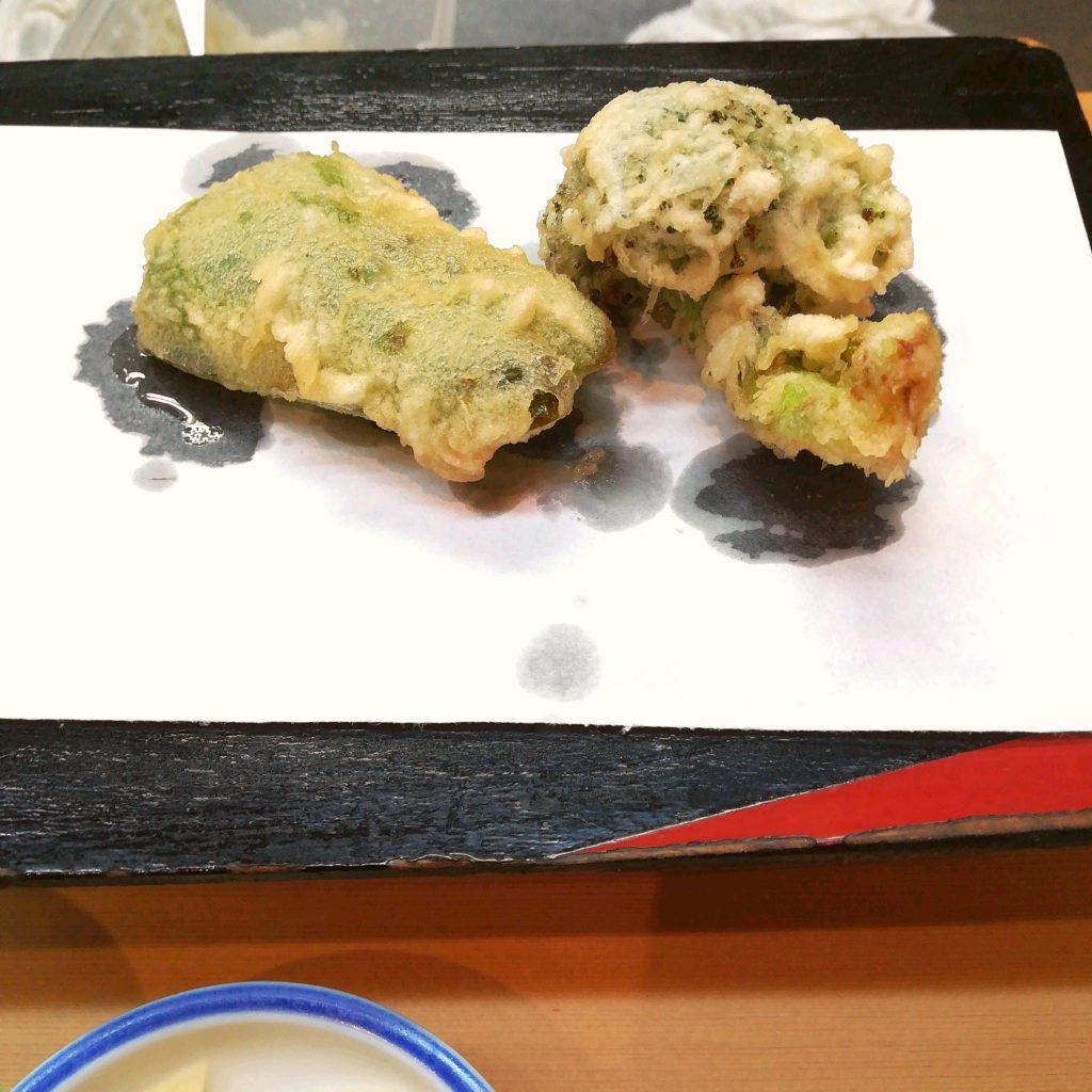 高円寺天ぷら「天すけ」ビーマンとブロッコリーの天ぷら