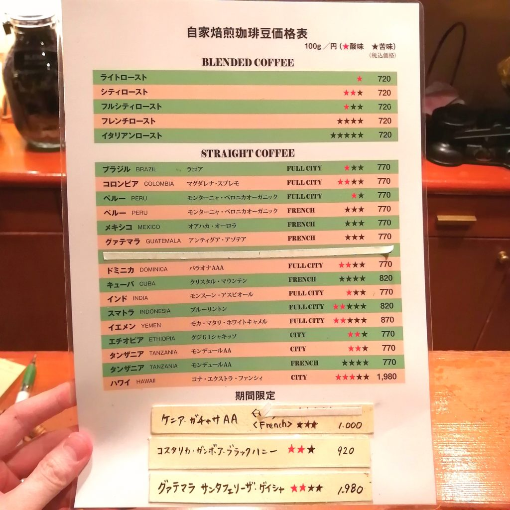 銀座コーヒー「十一房珈琲店」コーヒー豆価格表