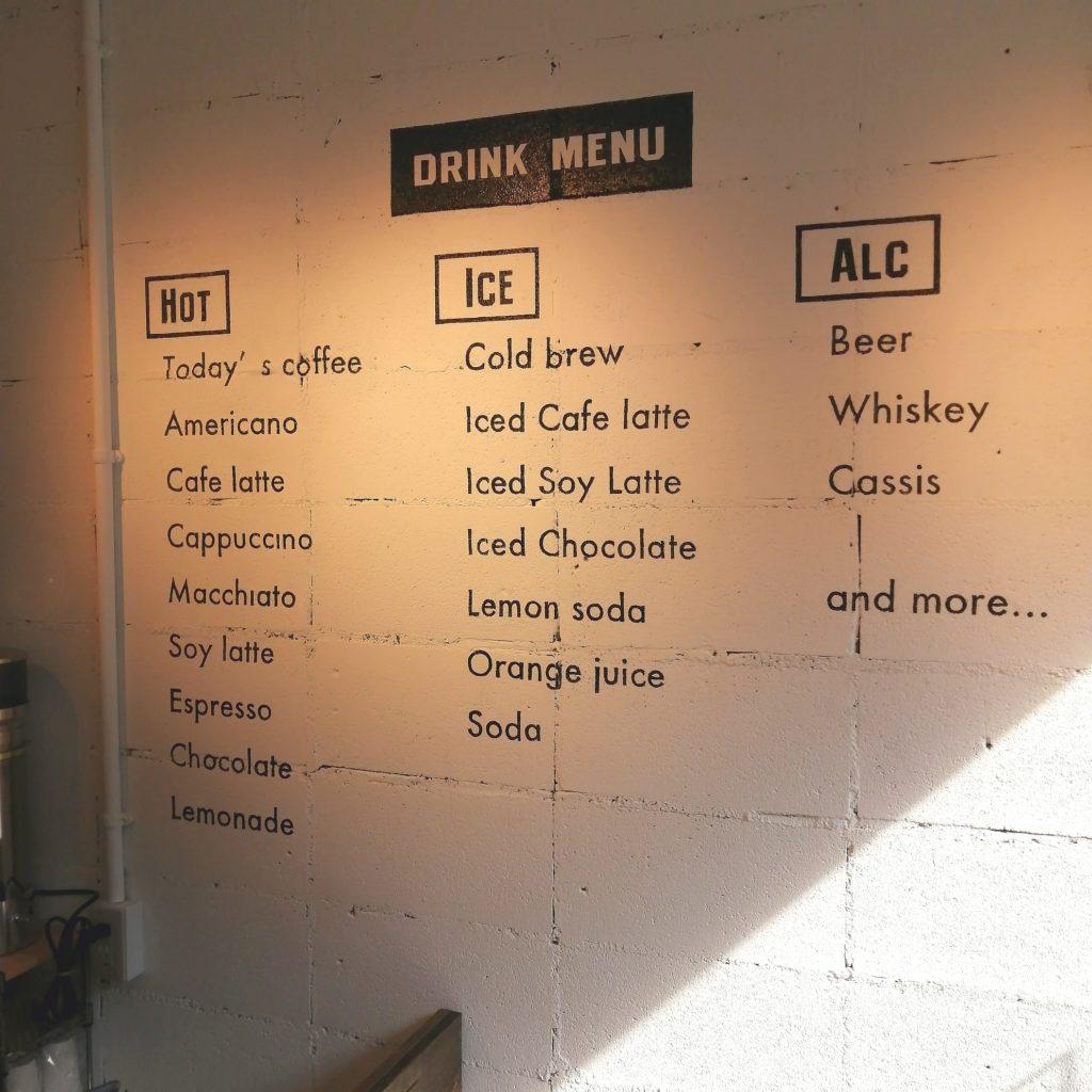 高円寺コーヒー「INCredible COFFEE(インクレディブルコーヒー)」壁にメニュー