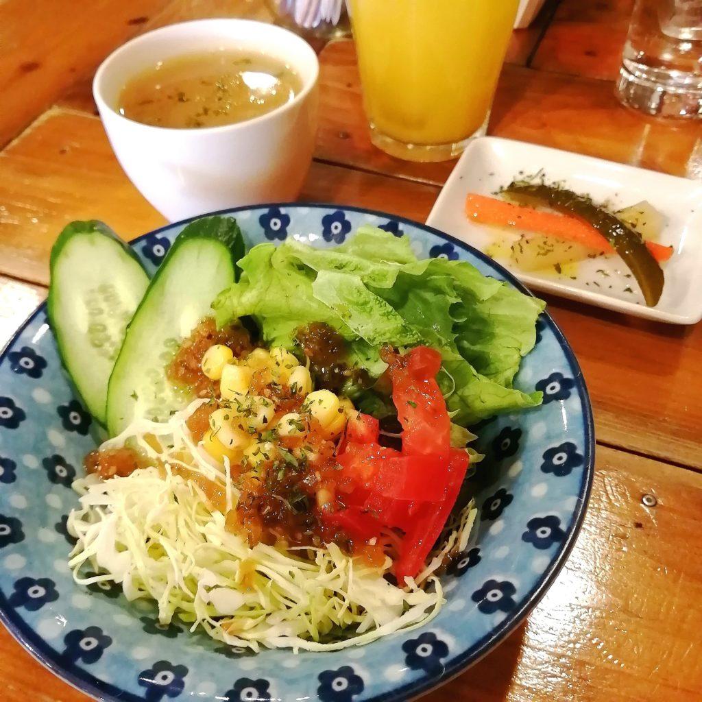 新高円寺カフェ「SMILE EARTH」柴漬けタルタルソースのチキン南蛮丼・サラダとスープ
