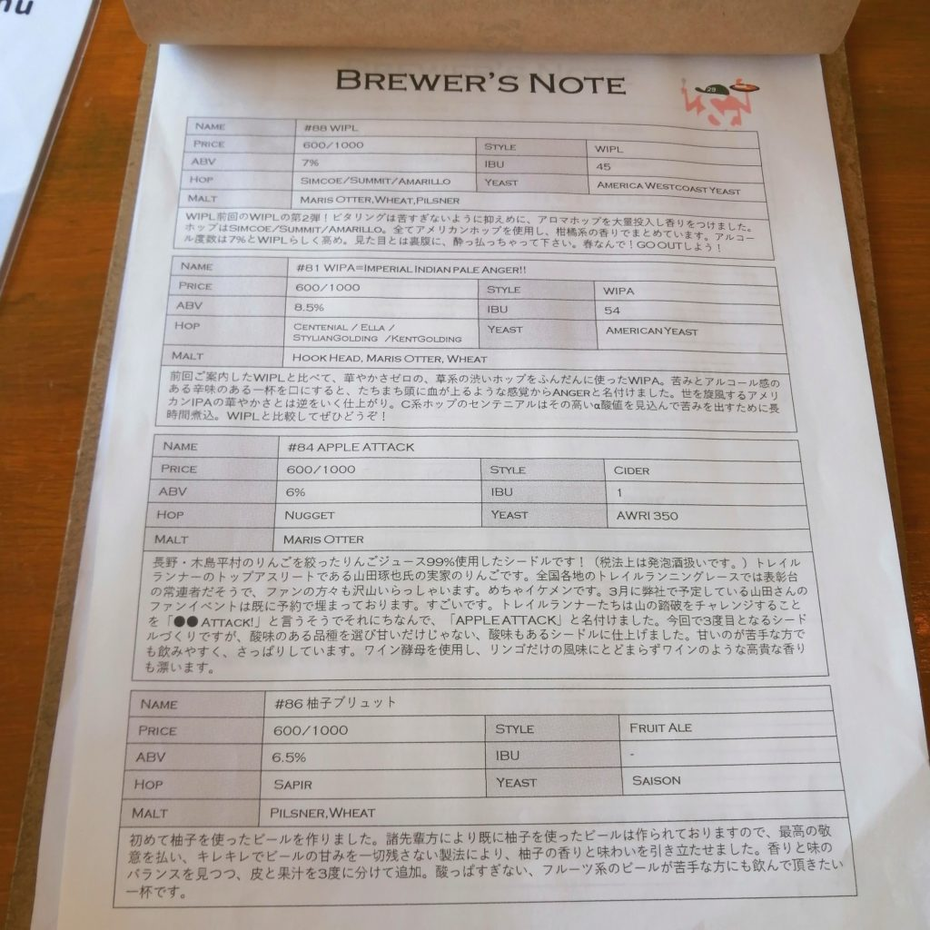 高円寺カレー「アンドビール」ビール・ブリュワーズノート