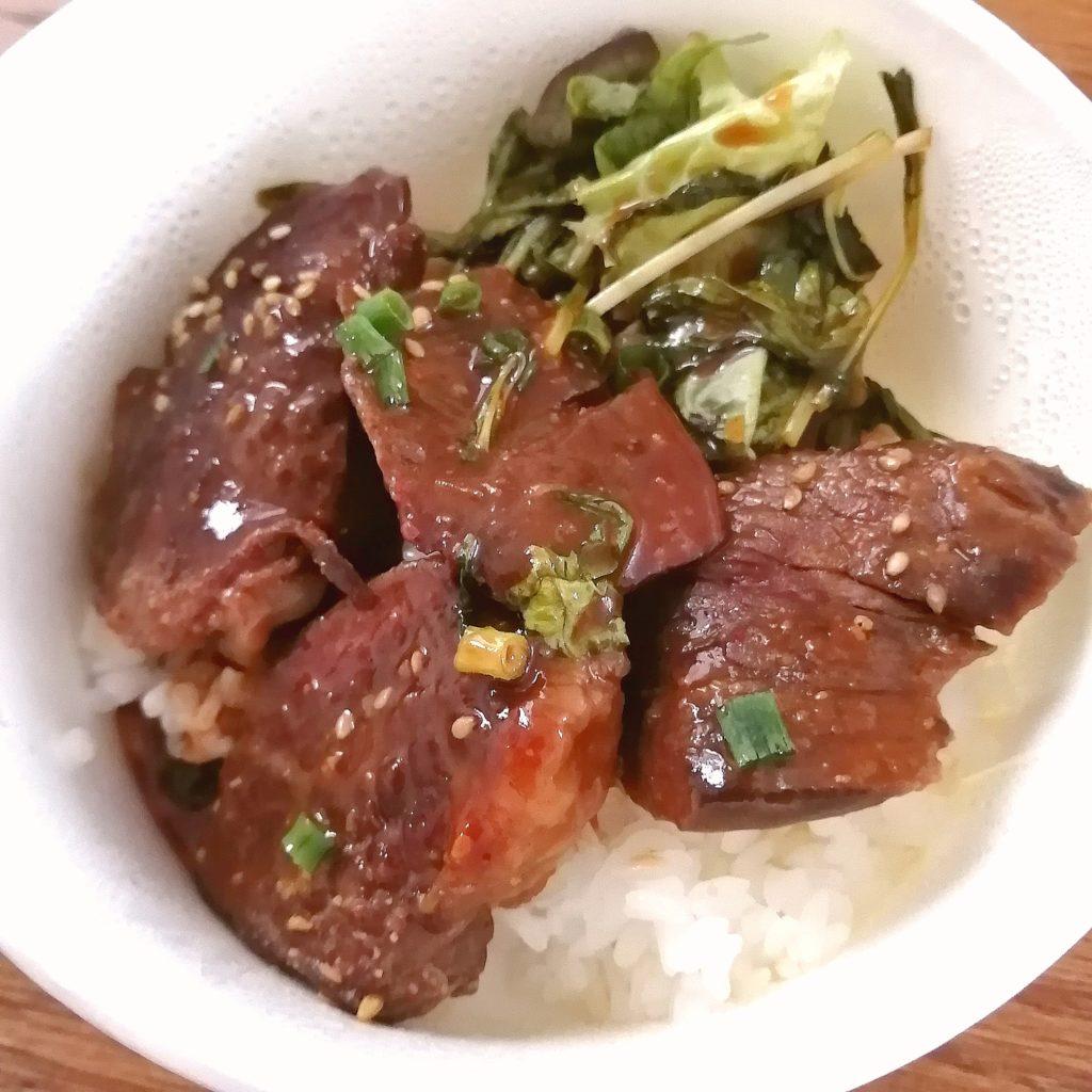 高円寺テイクアウトお弁当「播州酒場うぶ」牛ハラミステーキ弁当を丼に