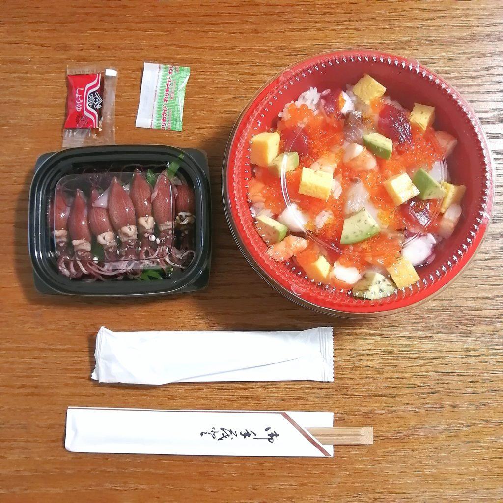高円寺テイクアウト海鮮「貝せん」バラちらし寿司、ホタルイカ
