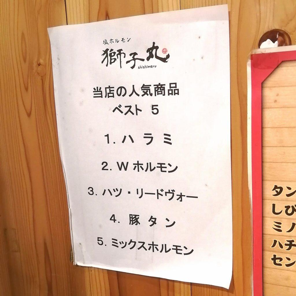 高円寺テイクアウト「塩ホルモン獅子丸」当店の人気商品