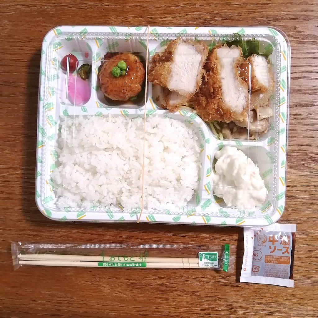 新高円寺テイクアウト「亀屋」チキンカツ・豚の生姜焼き弁当