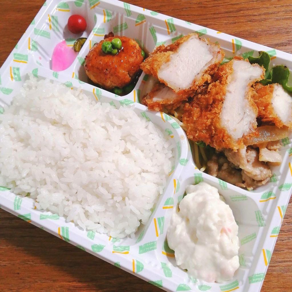 新高円寺テイクアウト「亀屋」チキンカツ・豚の生姜焼き弁当・アップ