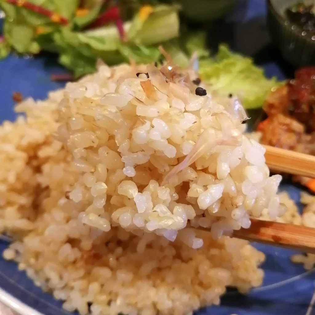 高円寺定食「Bear's Cafe Forest」日替わりポークハンバーグプレート・玄米ご飯