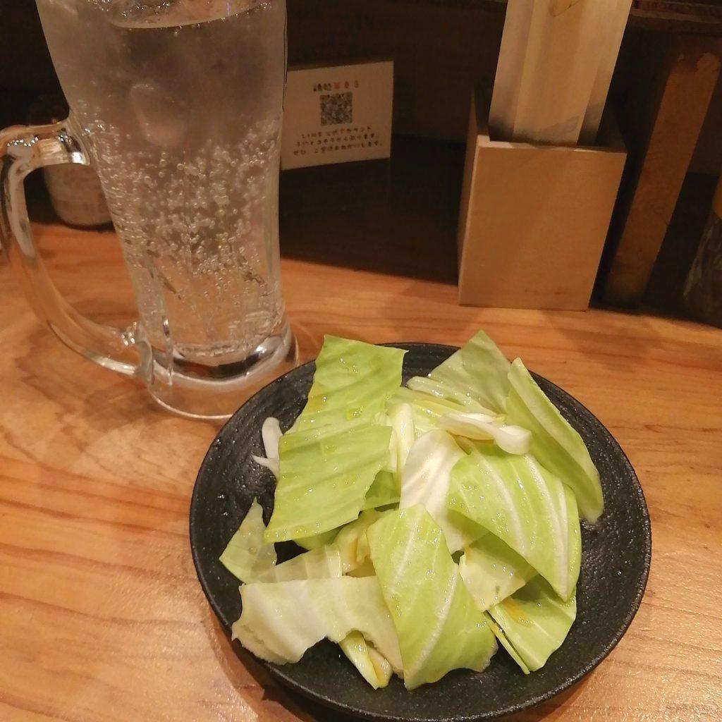 高円寺焼き鳥「北九州鶏処 笑まる」お通し、北九州レモンサワー